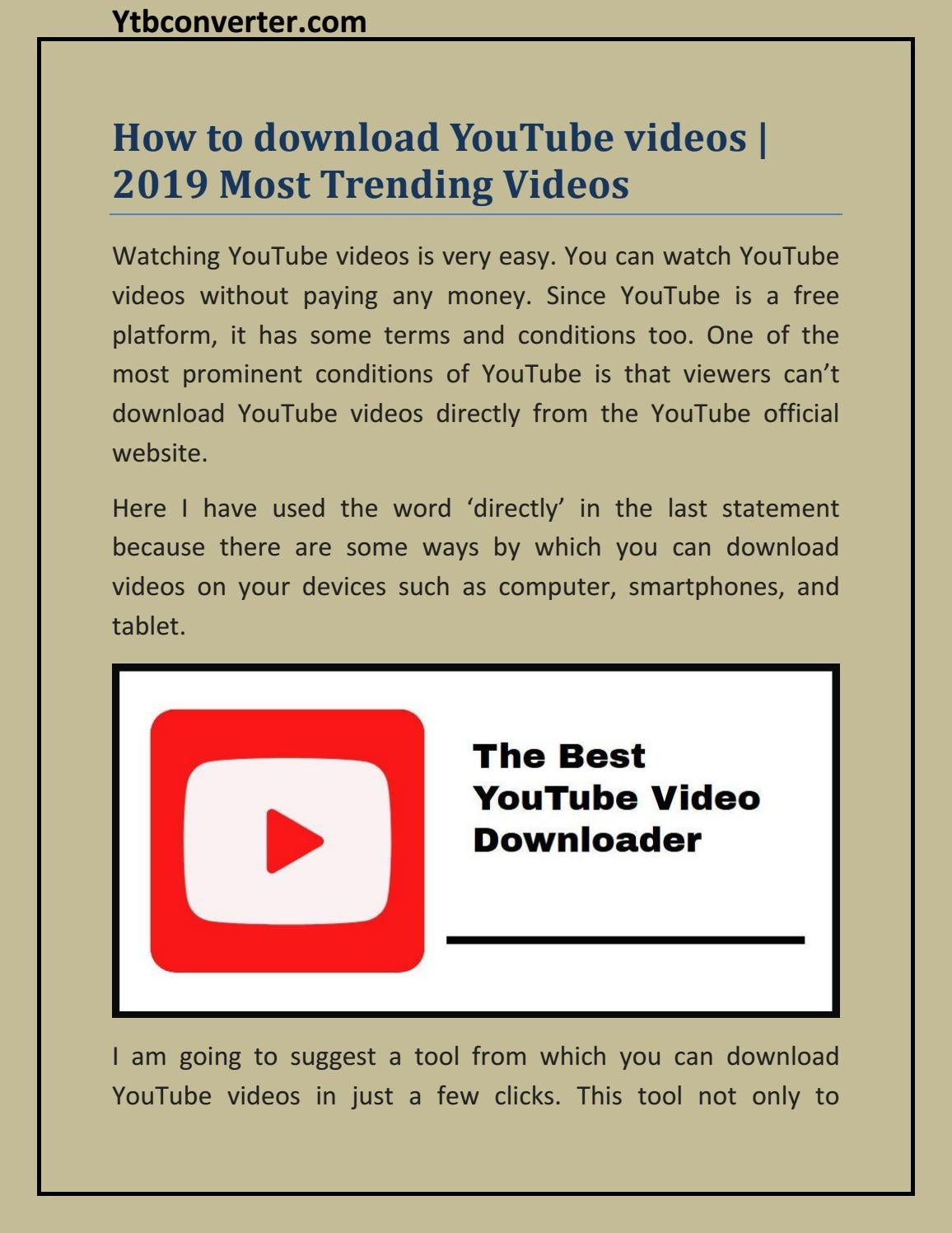 How to download YouTube videos | 2019 Most Trending Videos
