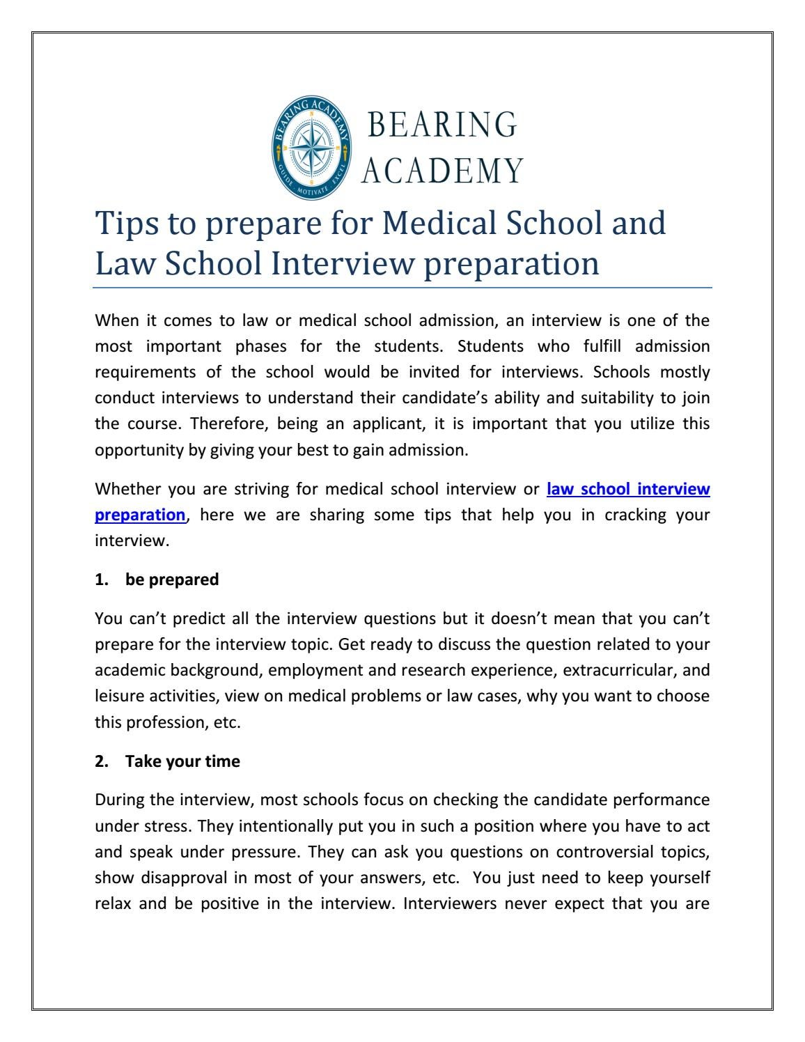 Tips to prepare for Medical School and Law School Interview