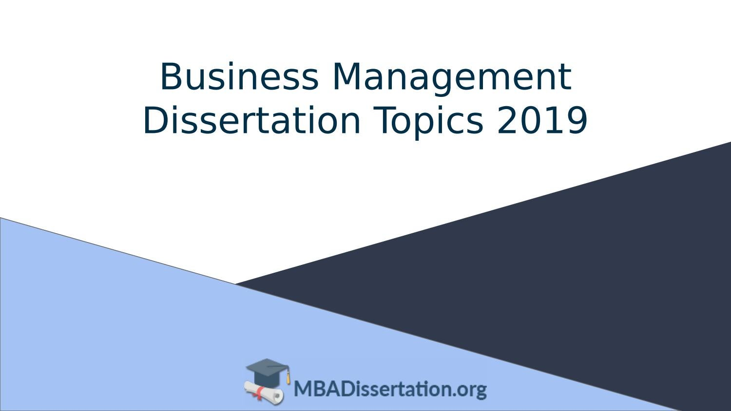 Business and management dissertation questions