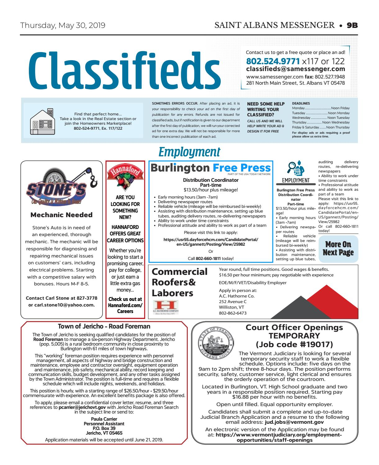 5/30/19 Classifieds by St  Albans Messenger - issuu