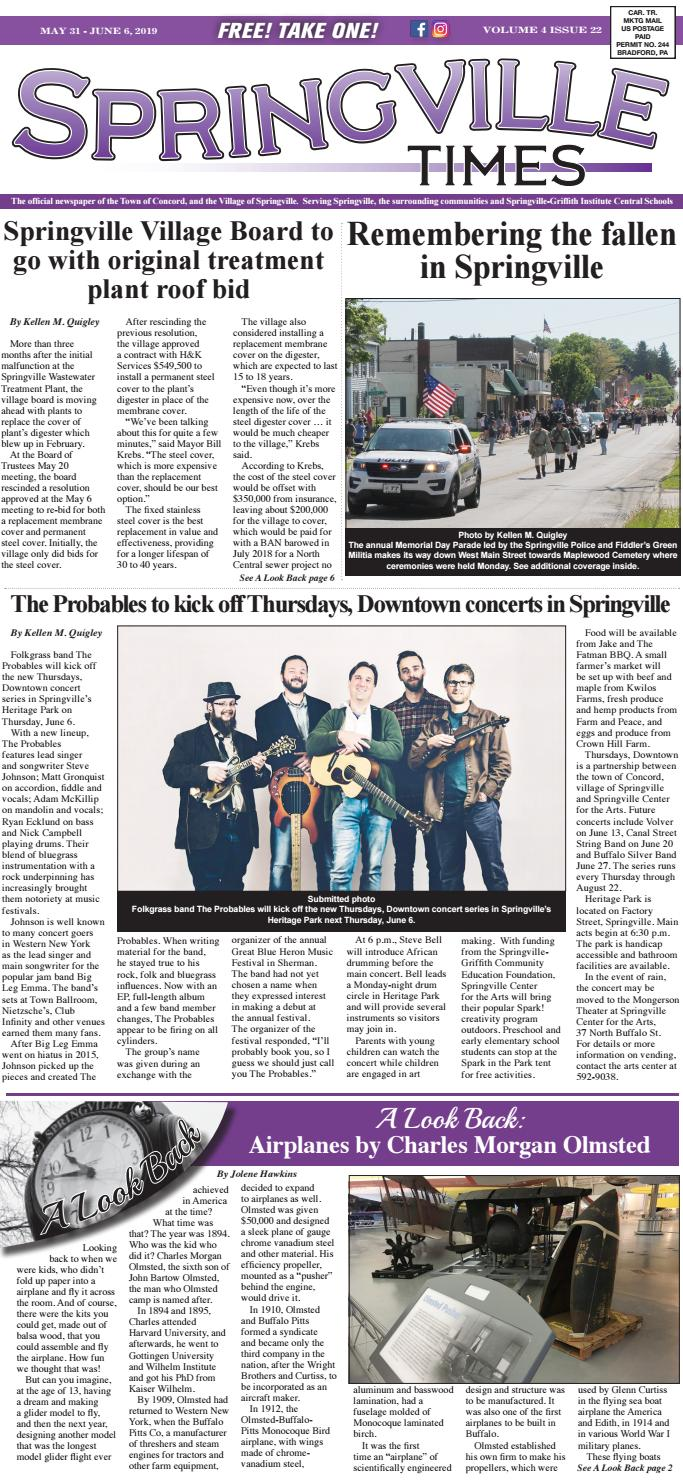 05/31/19 Springville Times by Ellicottville Times - issuu