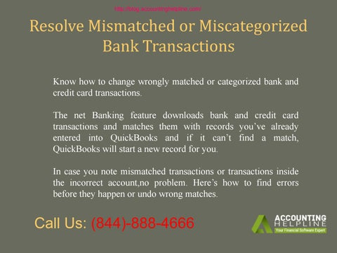 Resolve Mismatched or Miscategorized Bank Transactions by