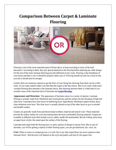 Comparison Between Carpet Laminate Flooring By Ellegant Home