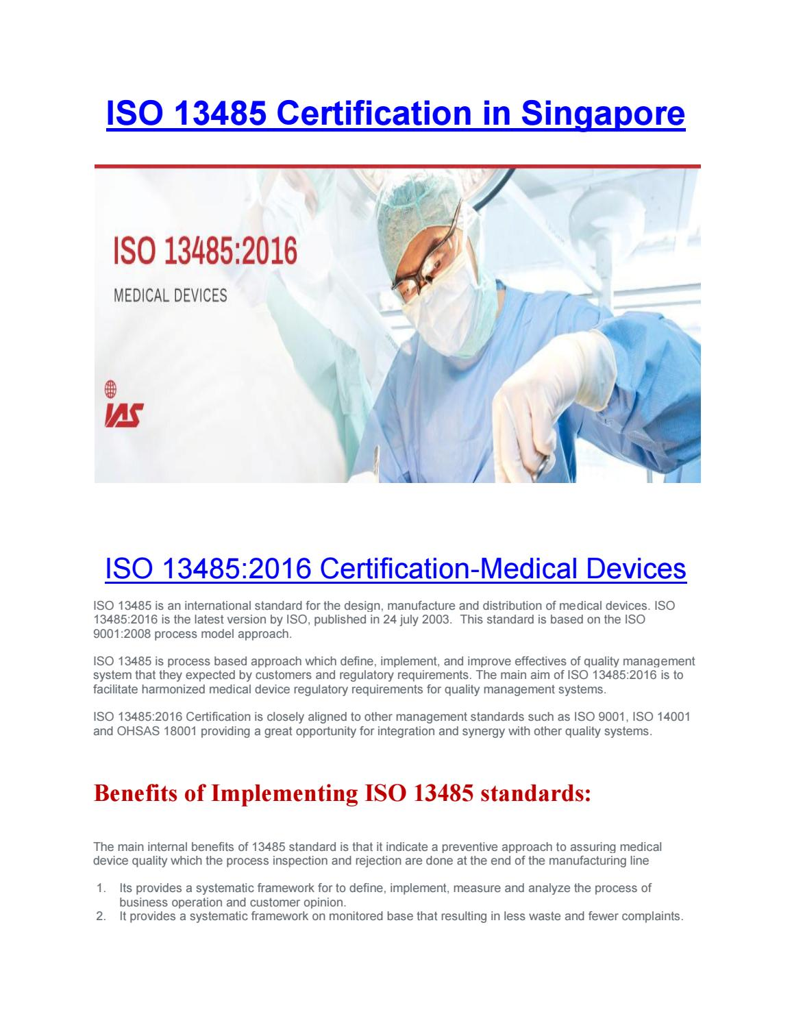 ISO 13485 Certification in Singapore by iassingapore - issuu