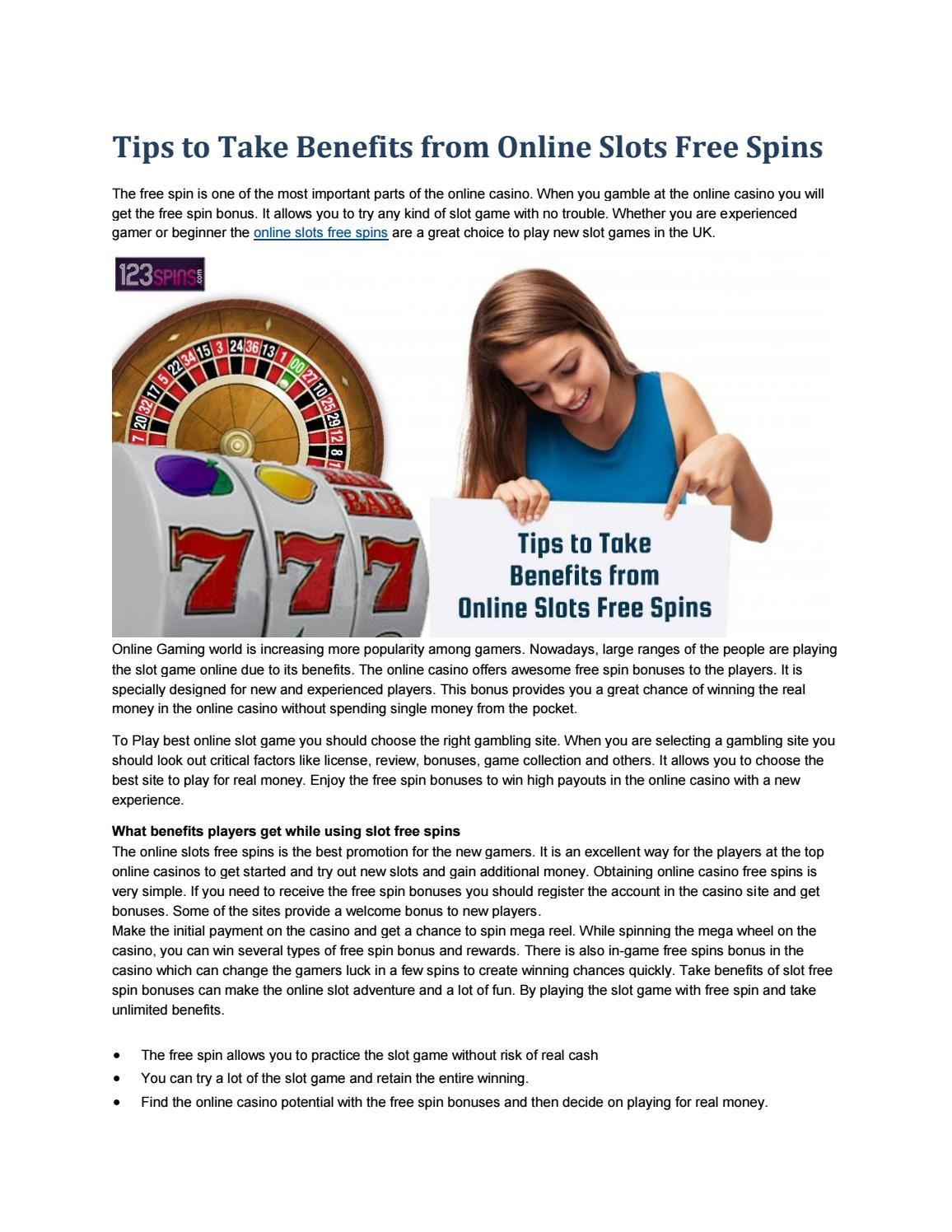 Tips To Take Benefits From Online Slots Free Spins By 123spins Issuu