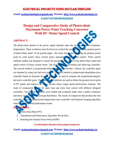 Design and Comparative Study of Photovoltaic Maximum Power