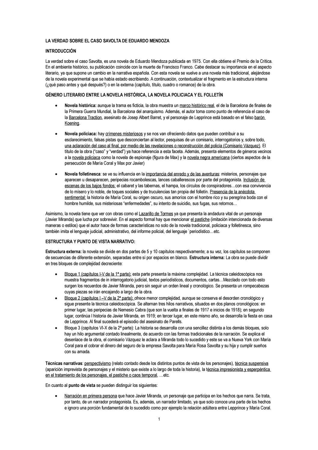 Guía De Lectura La Verdad Sobre El Caso Savolta By Sara