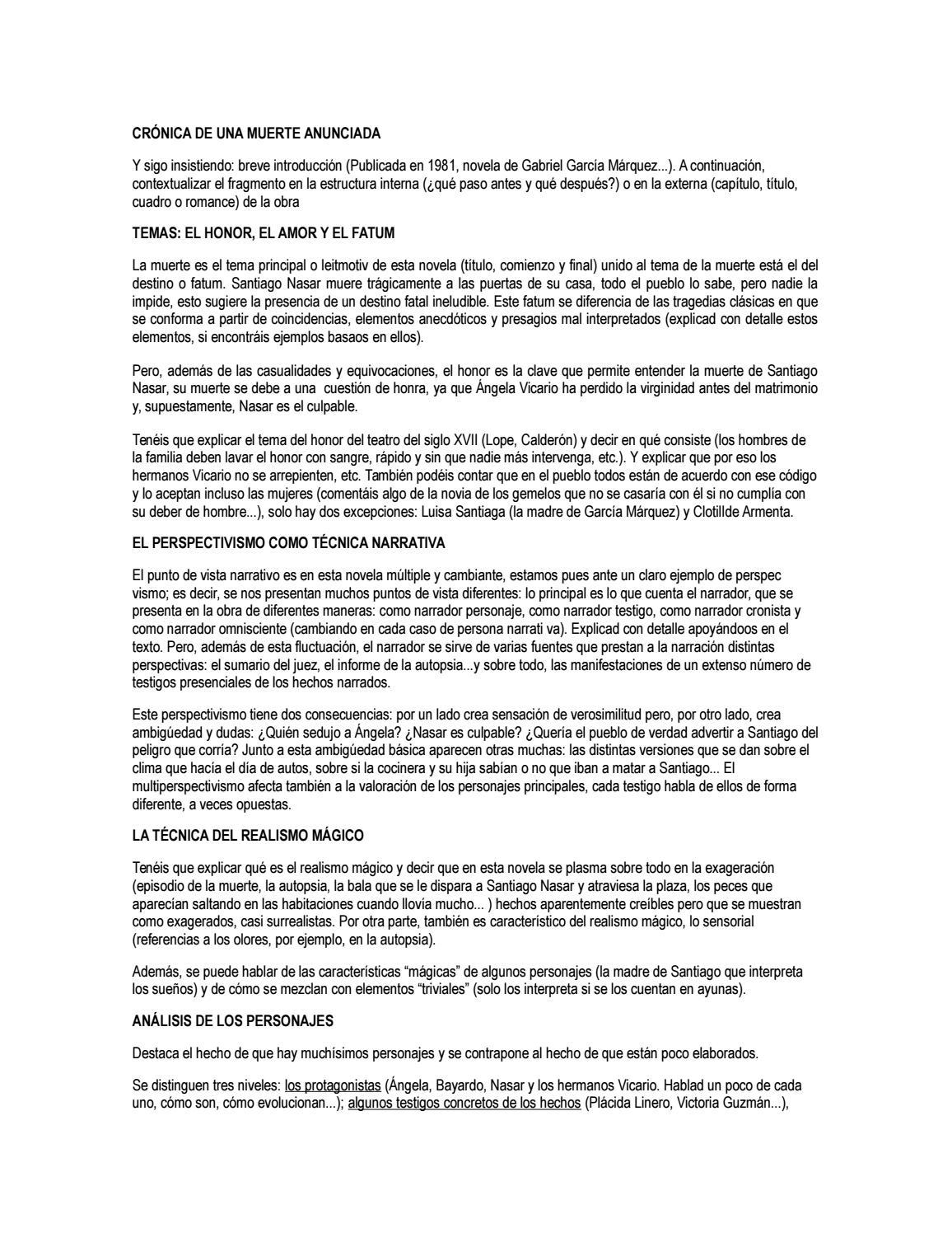 Guía De Lectura Crónica De Una Muerte Anunciada By Sara