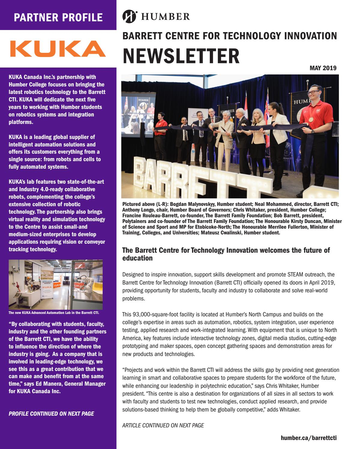 Barrett Cti Newsletter May 2019 By Humber College Applied Research Innovation Issuu