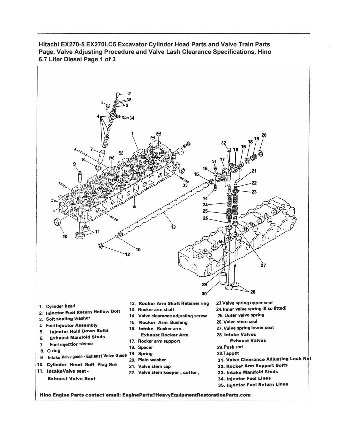 Hitachi EX270-5 EX270LC5 Excavator Cylinder Head Parts and