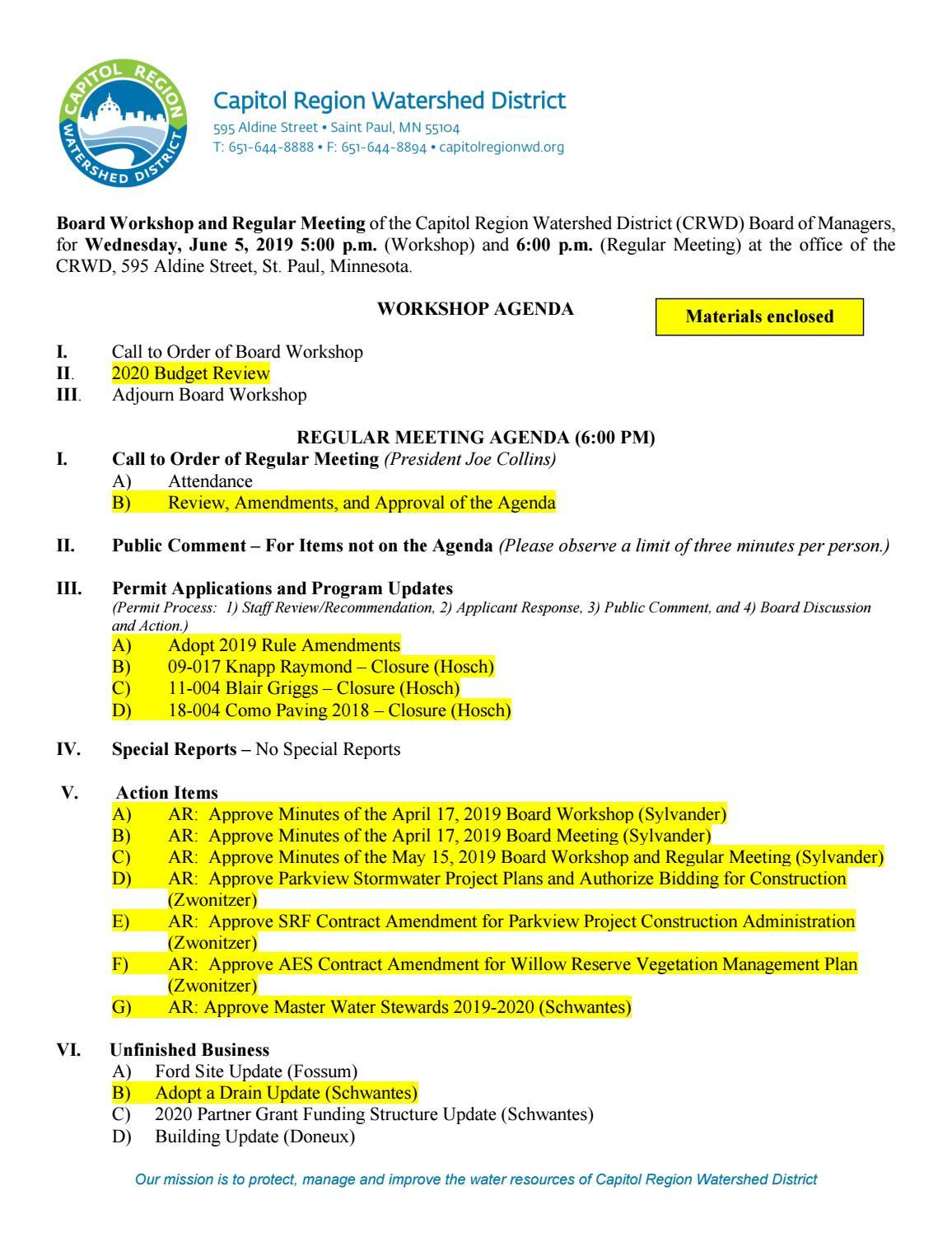 June 5 Board Meeting Packet by Capitol Region Watershed
