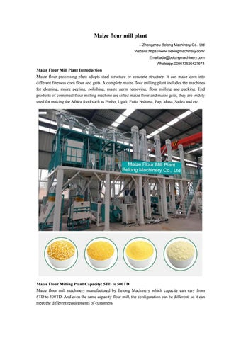 Maize & Corn Flour Mill Plant Manufacture, Design, and Installation