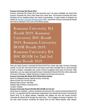 Kumaun University BA Result 2019 by Nitin Kumar - issuu