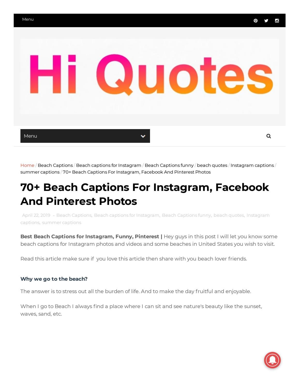 70 Beach Captions for Instagram, Facebook And Pinterest