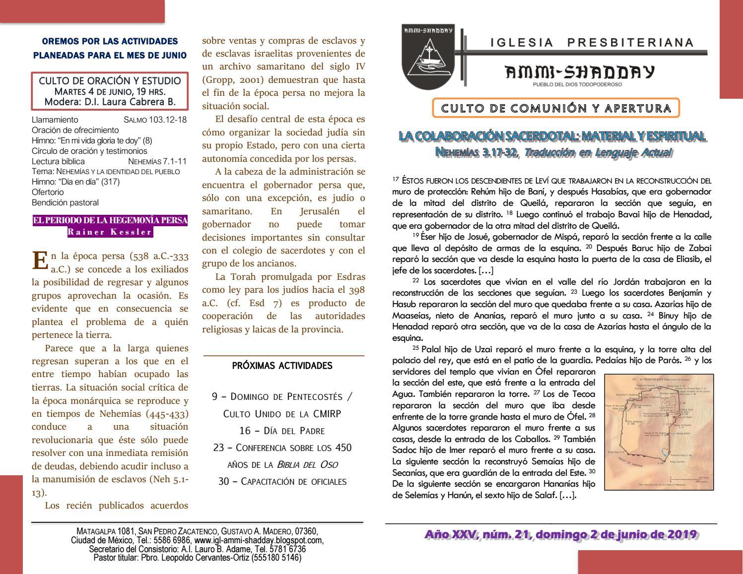 Boletín 21, 2 de junio de 2019 by Iglesia Presbiteriana Ammi