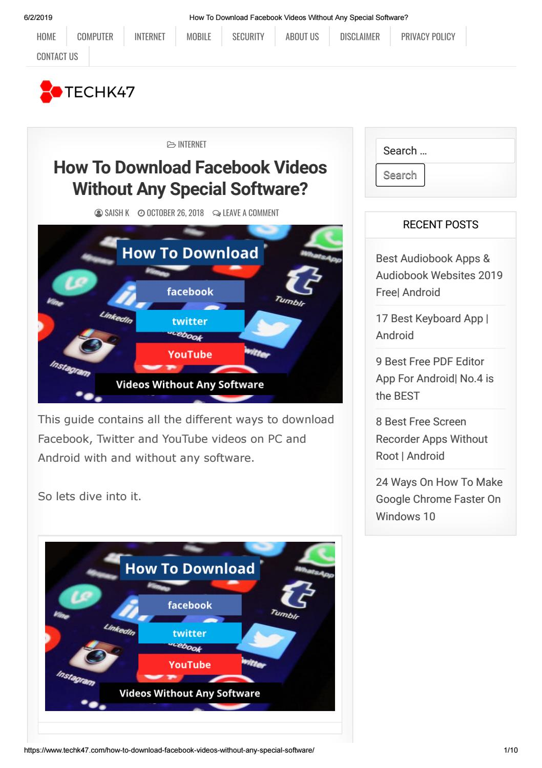 How to download facebook, twitter and instagram videos