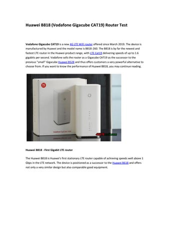 Huawei B818 (Vodafone Gigacube CAT19) Router Test by Lte Mall - issuu
