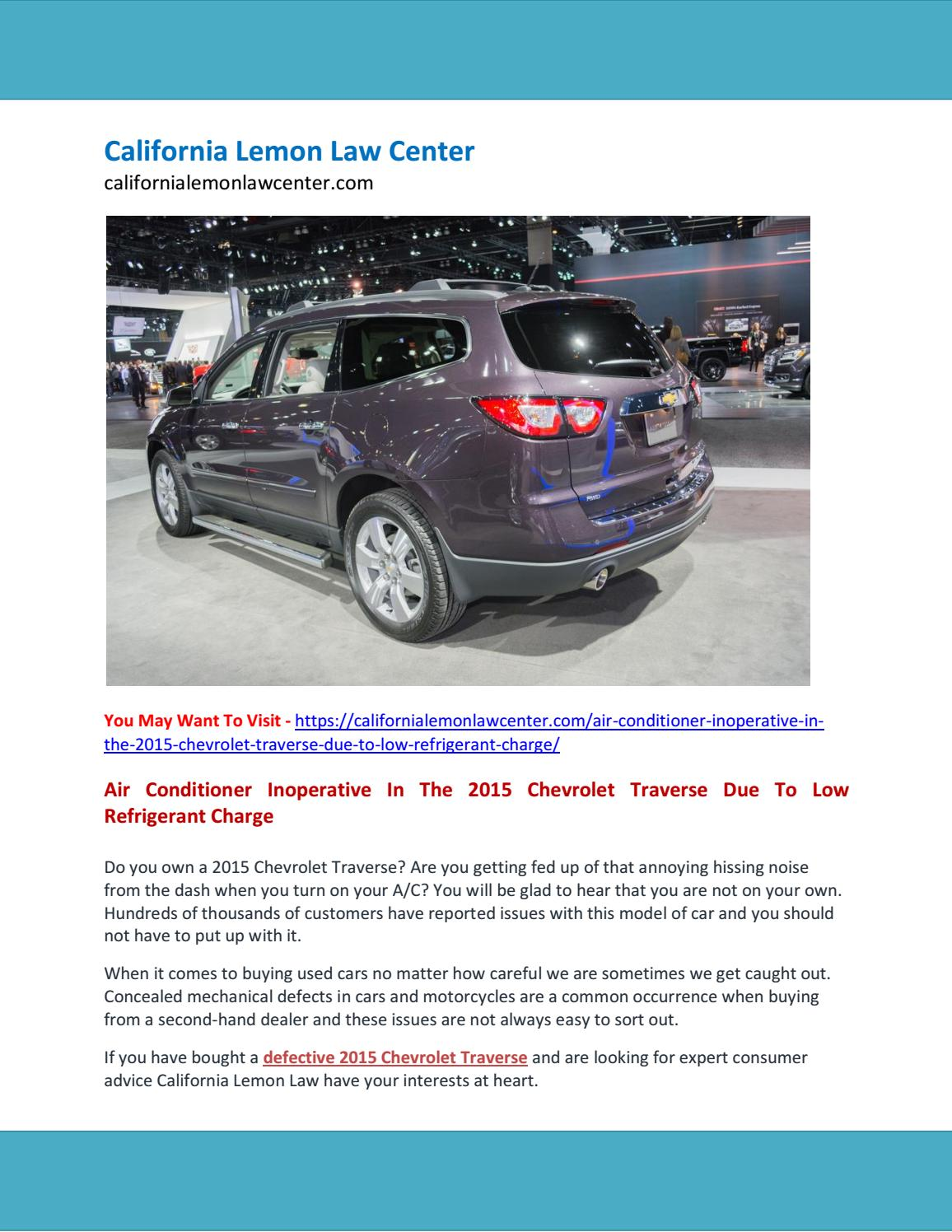 Air Conditioner Inoperative In The 2015 Chevrolet Traverse