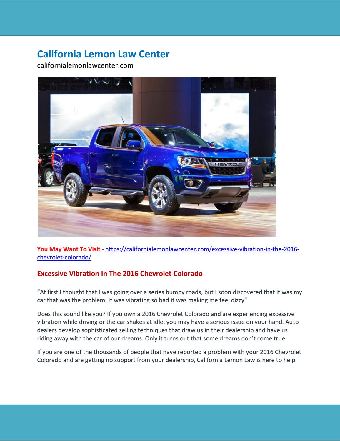 Excessive Vibration In The 2016 Chevrolet Colorado by
