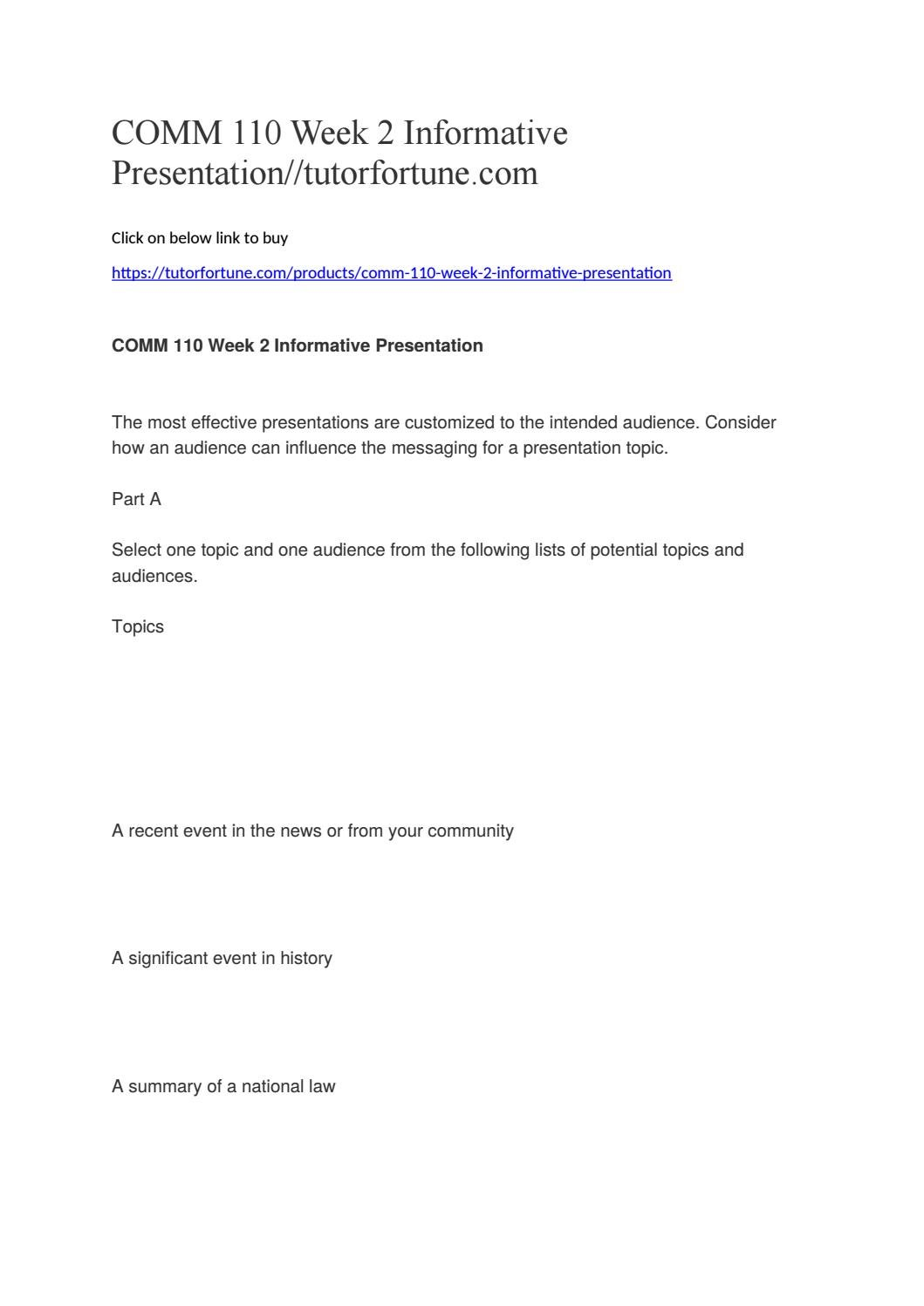 COMM 110 Week 2 Informative Presentation//tutorfortune com