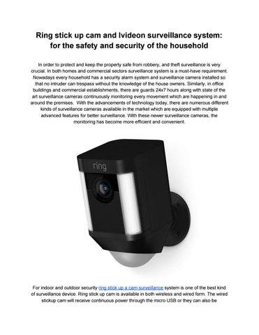 Ring Security and Ivideon Video Surveillance accessible at Elite