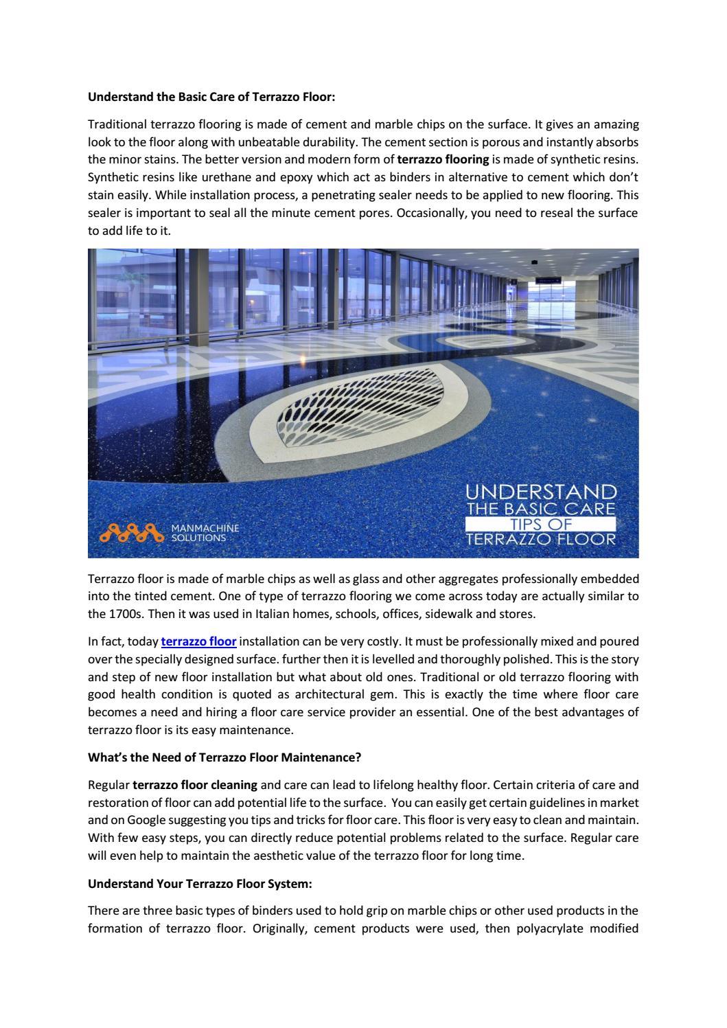 Understand The Basic Care Of Terrazzo Floor By Manmachine