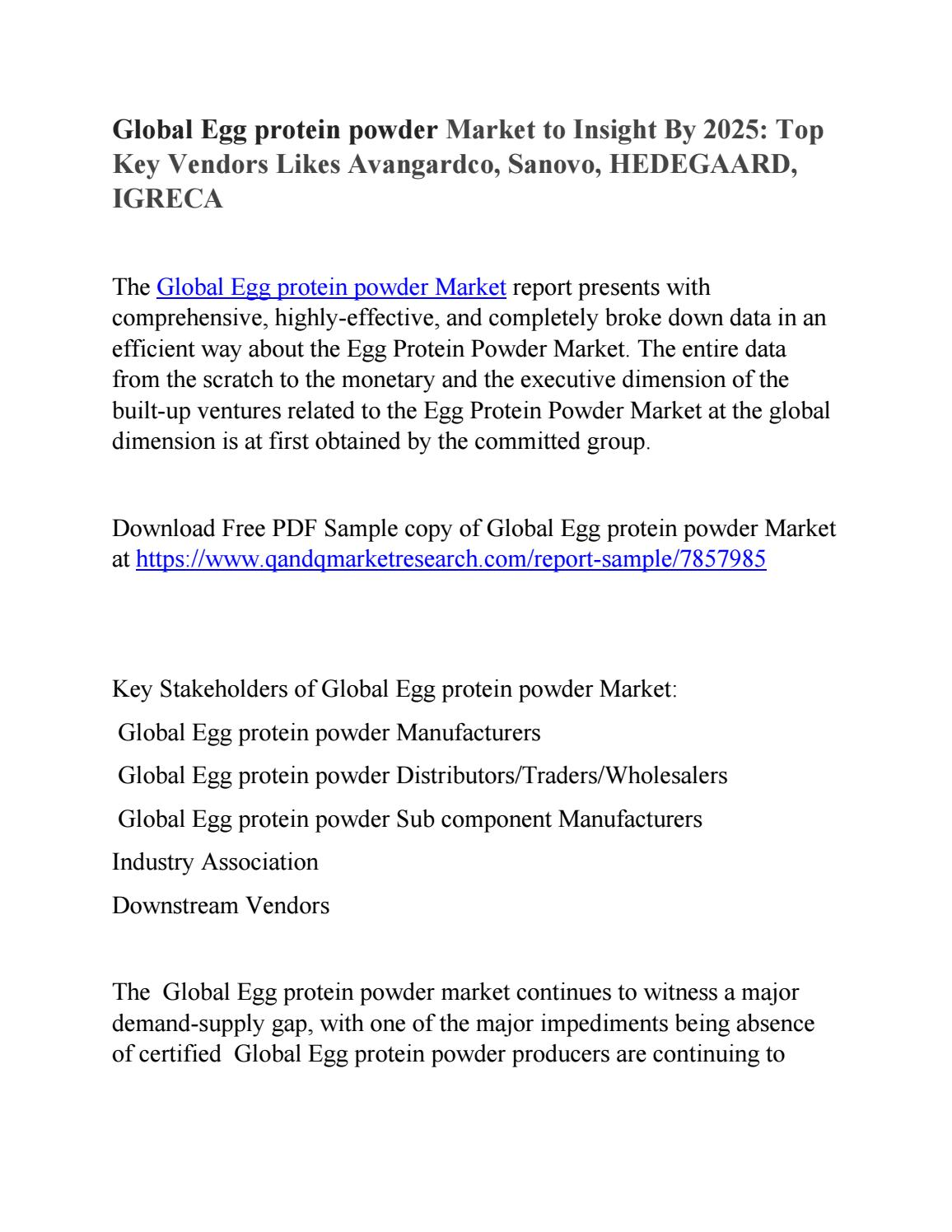 Global Egg protein powder Market Production and Demand