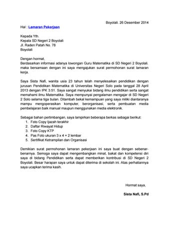 Contoh Surat Lamaran Kerja Guru By Official 123dok Issuu