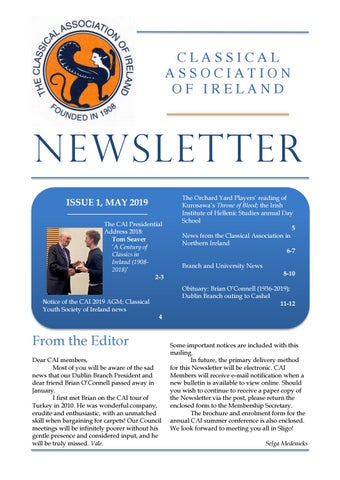 "Cover of ""Classical Association of Ireland Newsletter May 2019"""