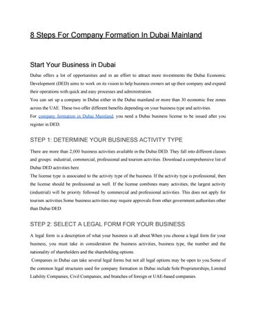 8 Steps For Company Formation In Dubai Mainland by Tushar