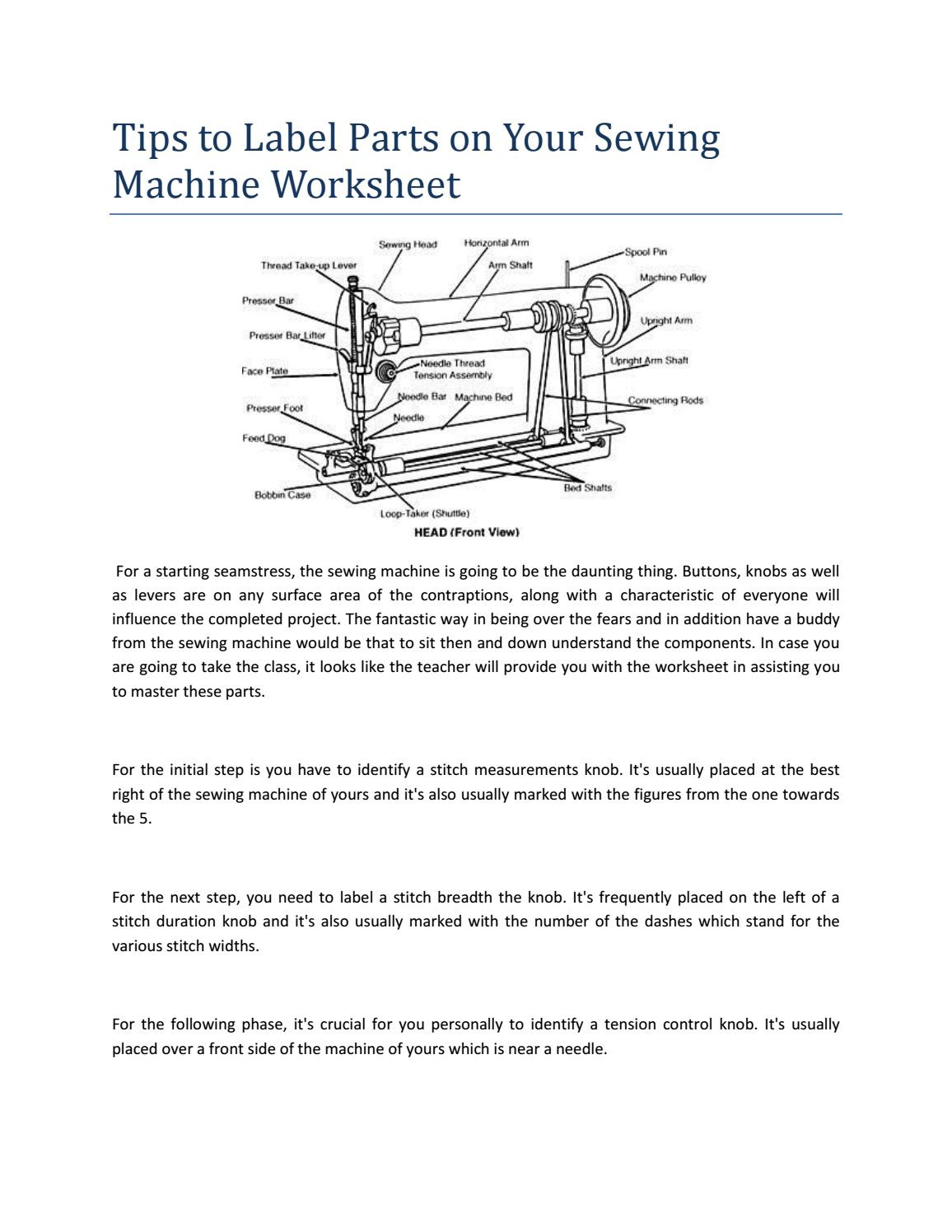 Parts Of A Sewing Machine by Dennis J. McPherson - issuu