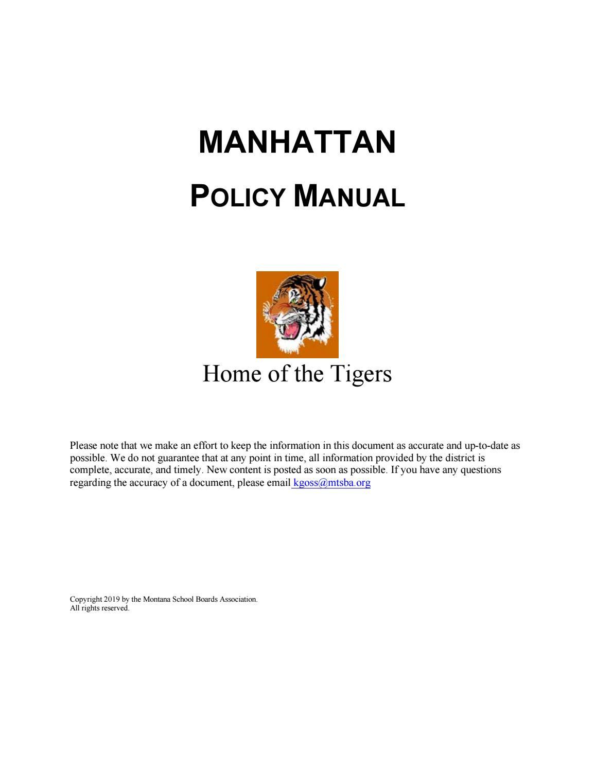 42d77f8617 Manhattan School District Policy Manual by Montana School Boards  Association - issuu