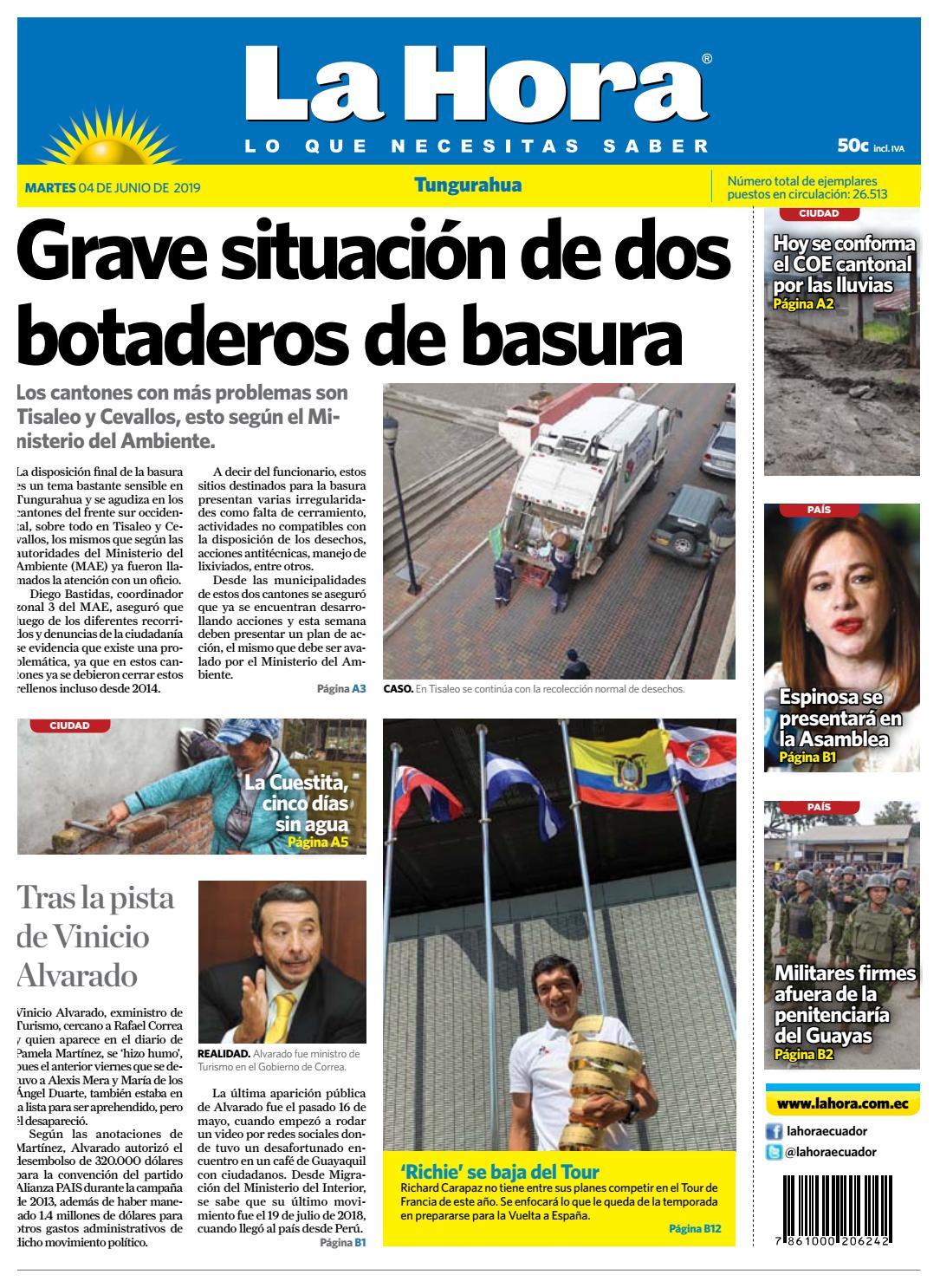 a4aee7855 TUNGURAHUA 04 DE JUNIO DE 2019 by Diario La Hora Ecuador - issuu