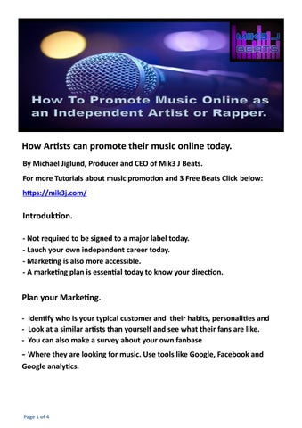 How to promote music online today as an Artist or Rapper by