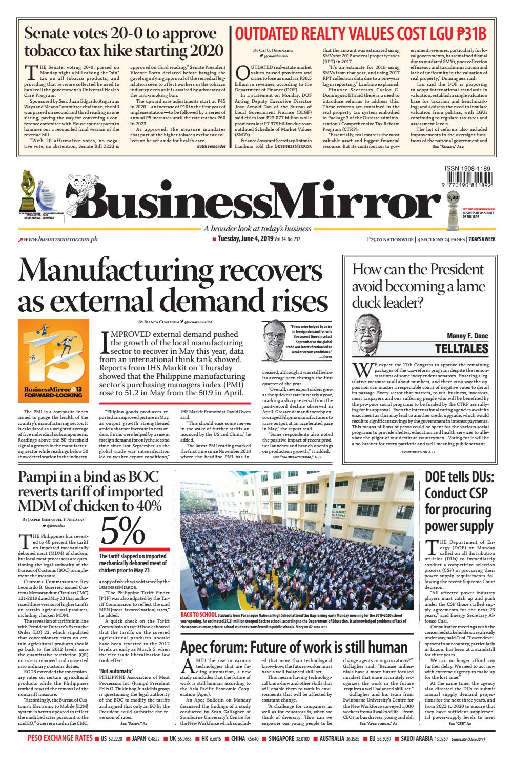 BusinessMirror June 04, 2019 by BusinessMirror - issuu