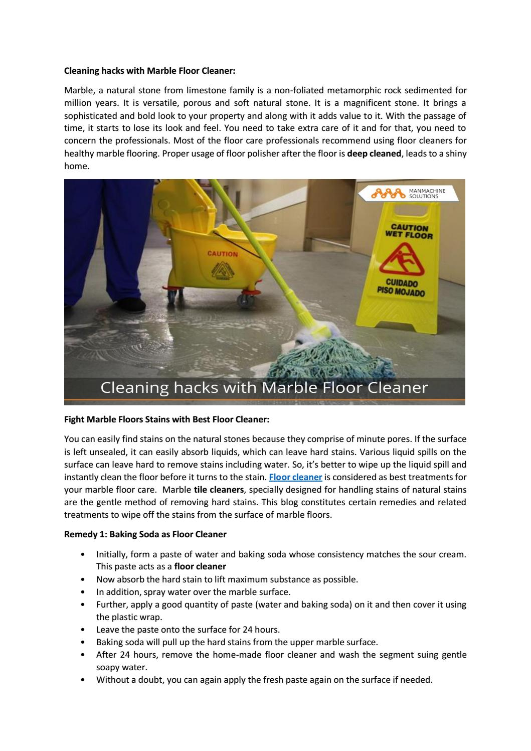 Cleaning Hacks With Marble Floor Cleaner By Manmachine Solutions Issuu