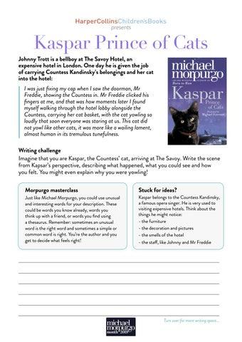 Kaspar Prince of Cats by Michael Morpurgo - Writing
