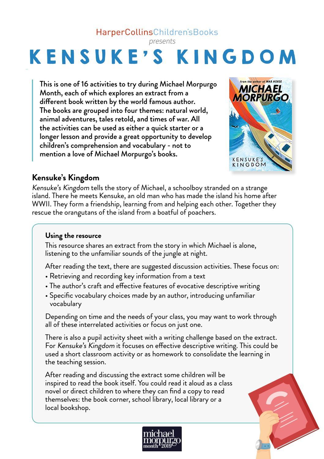- Kensuke's Kingdom By Michael Morpurgo - Cover Sheet (KS2, KS3) By