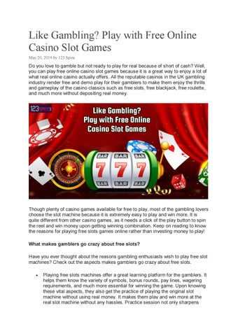 Like Gambling Play With Free Online Casino Slot Games By 123