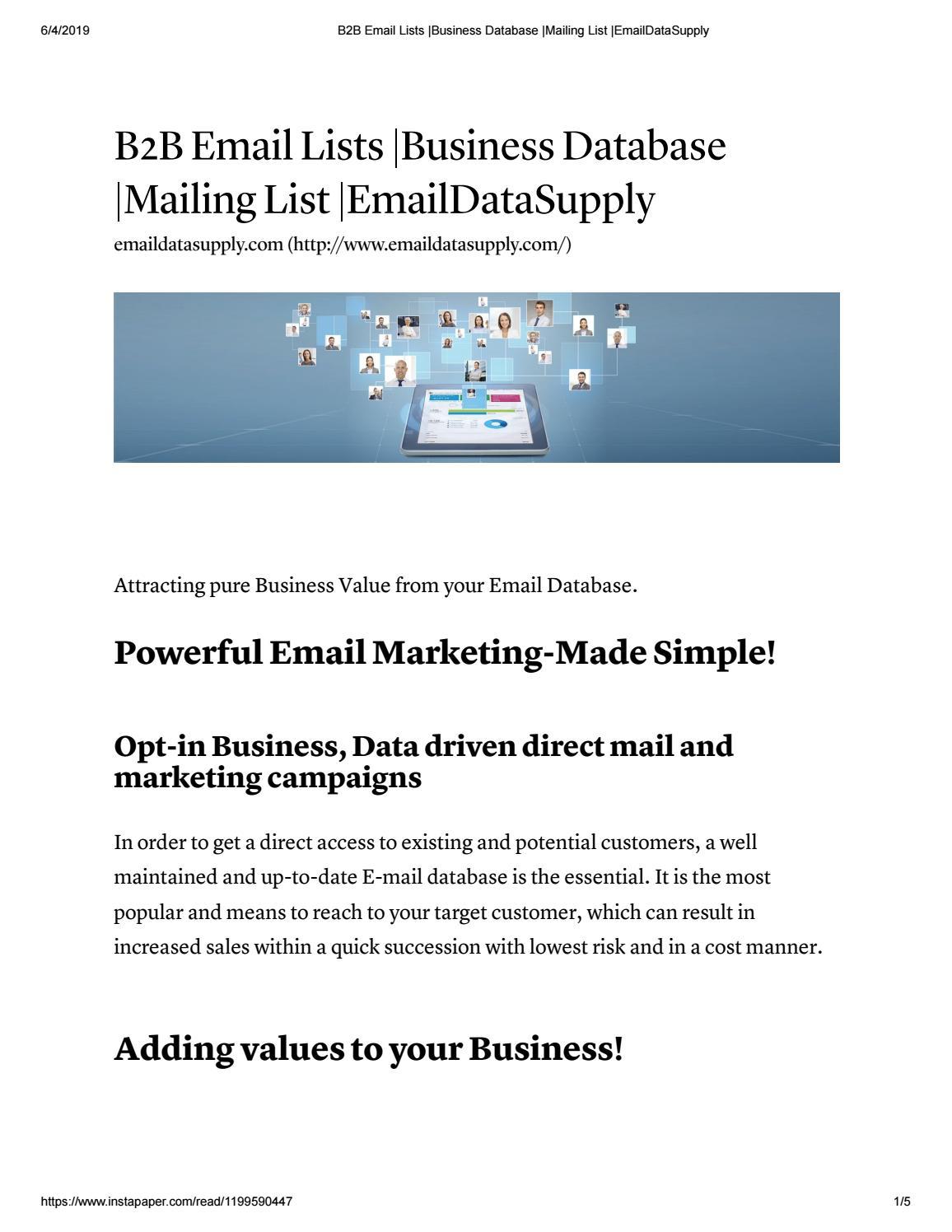 B2B Email Lists - Email Datasupply by christiana Steve - issuu