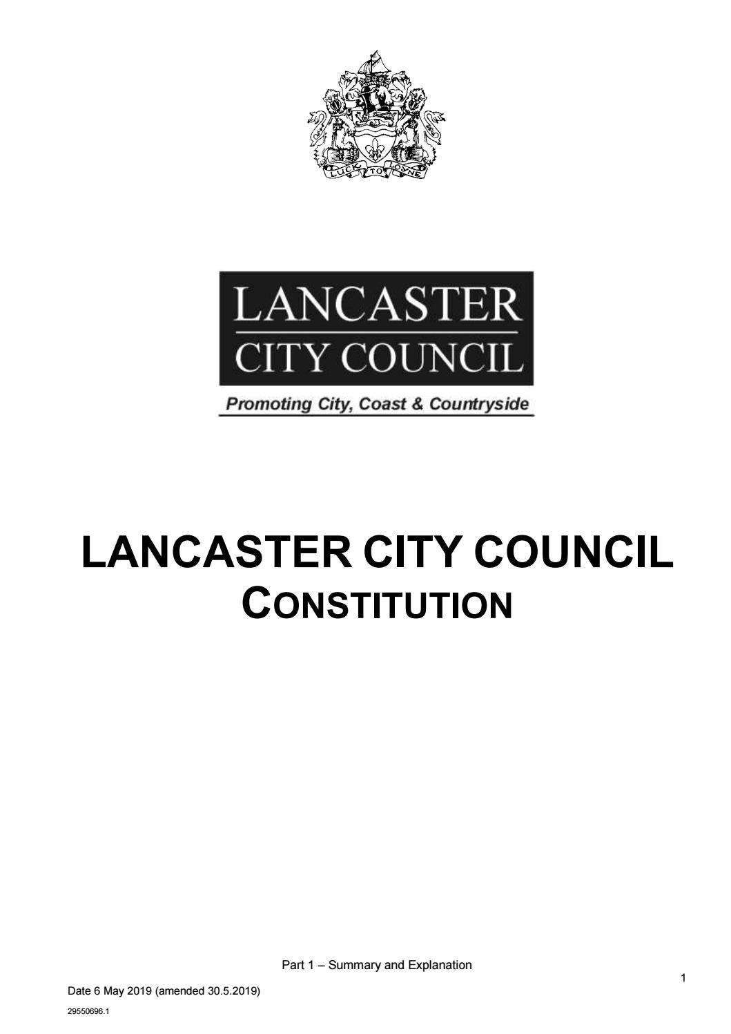 Lancaster City Council Constitution v1 1 by Lancaster City Council