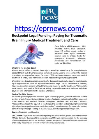Rockpoint Legal Funding: Paying for Traumatic Brain Injury Medical