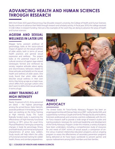 Page 12 of ADVANCING HEALTH AND HUMAN SCIENCES THROUGH RESEARCH