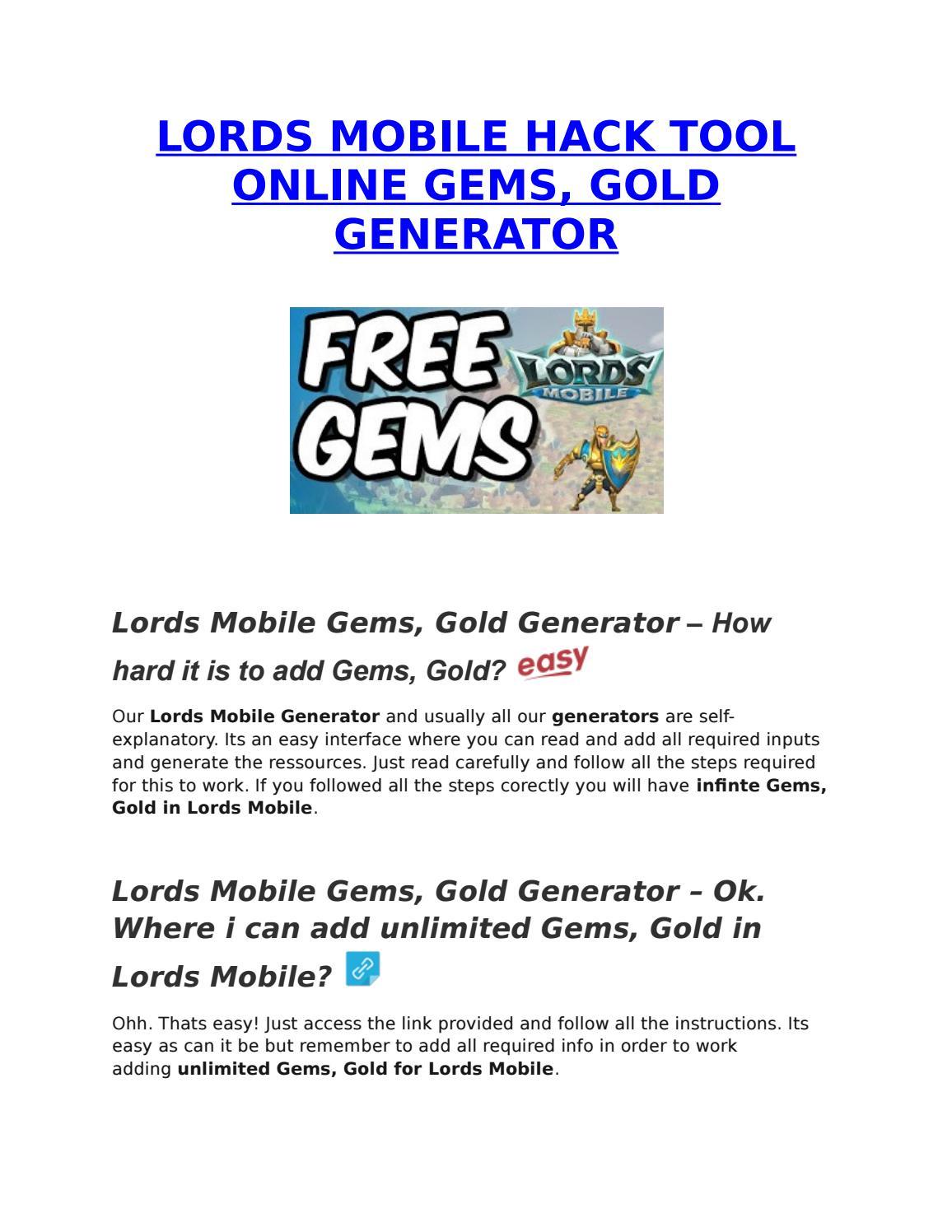 Lords Mobile Hack Gems Gold Generator By Jasmine Fabiana Issuu