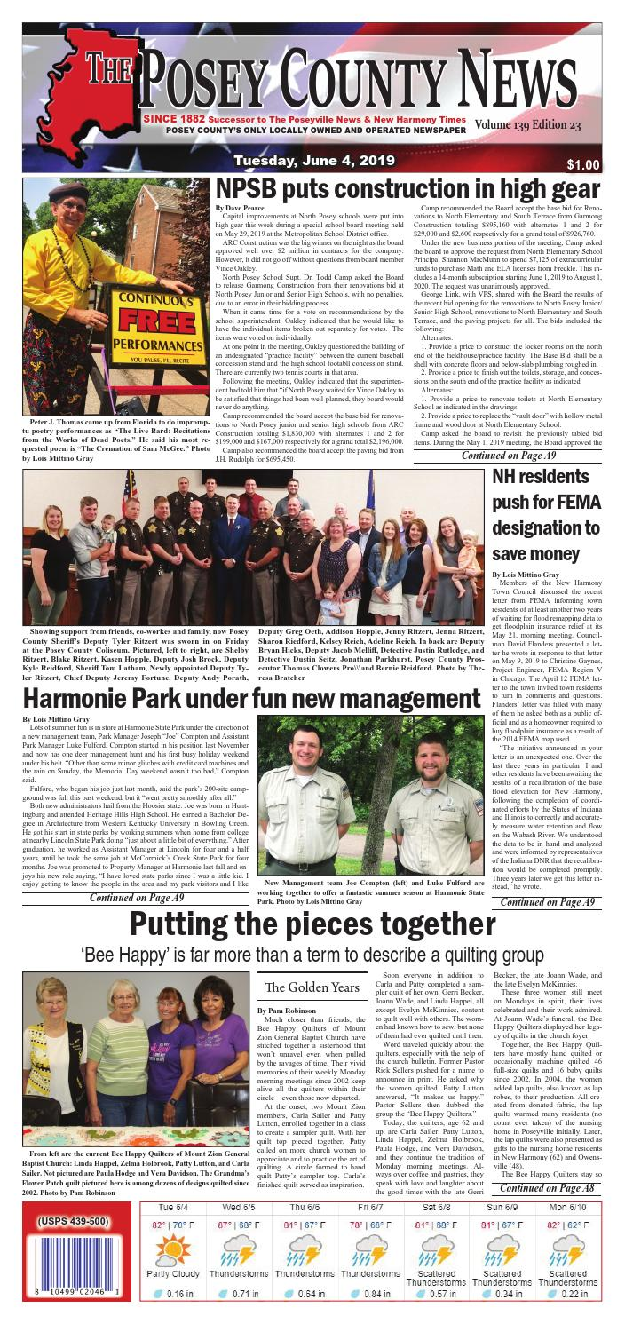 June 4, 2019 - The Posey County News by The Posey County