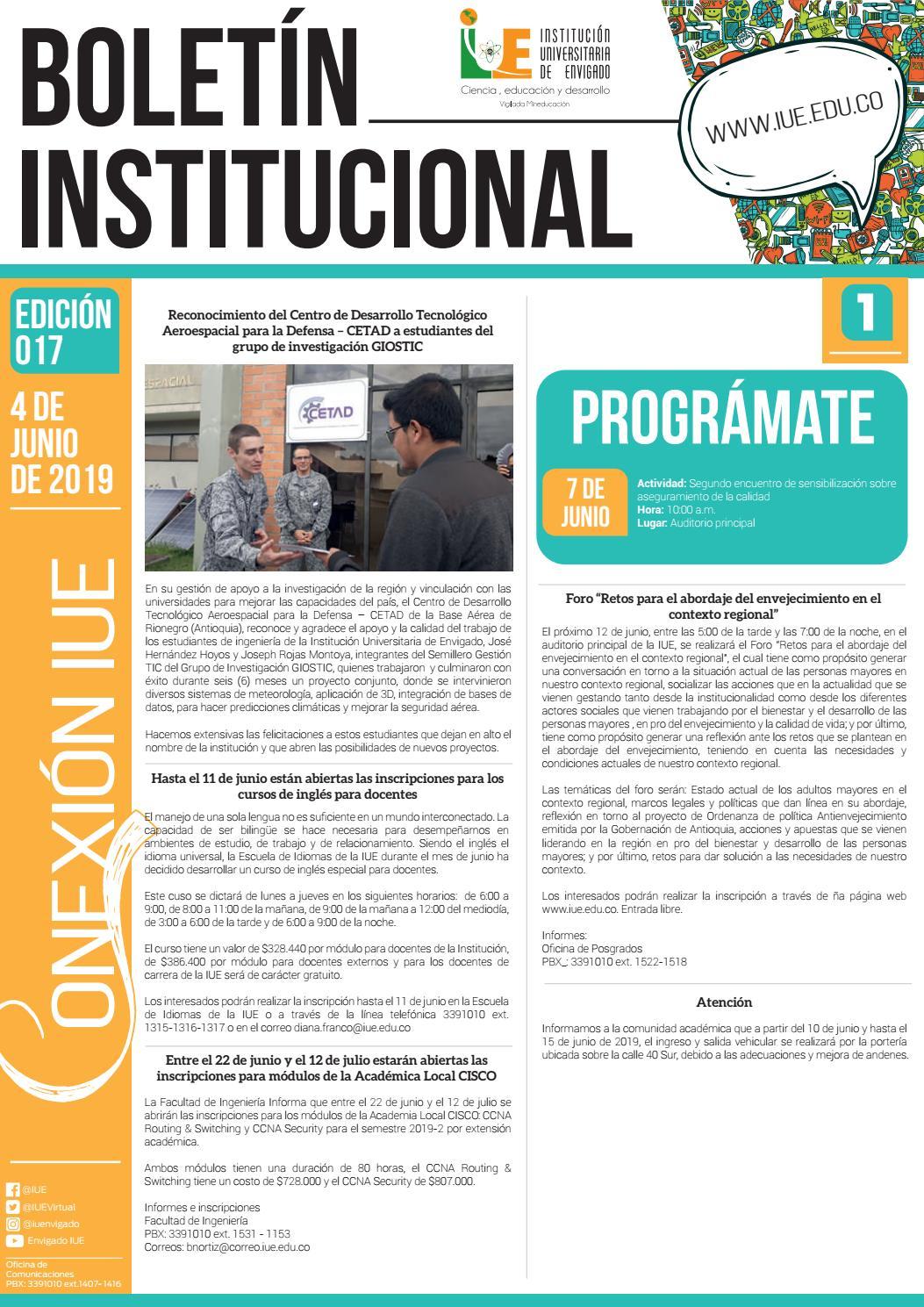 Boletín Institucional No 017 De 2019 By Iuevirtual Issuu