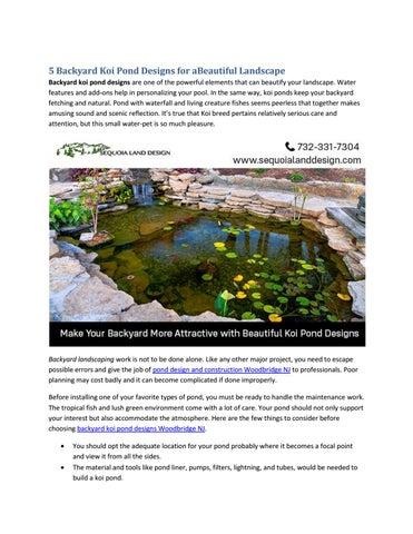 5 Backyard Koi Pond Designs For Abeautiful Landscape By Andreaskoch21021 Issuu