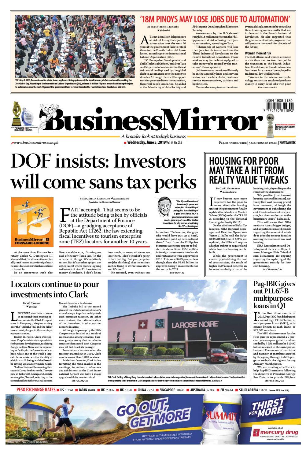 BusinessMirror June 05, 2019 by BusinessMirror - issuu
