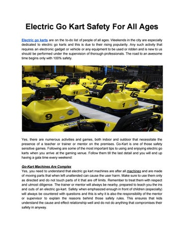 Electric Go Kart Safety For All Ages by Funzilla - issuu