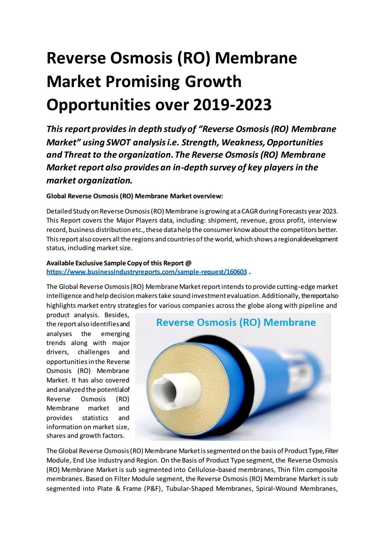 Reverse Osmosis RO Membrane Market Promising Growth